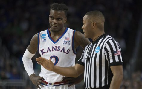 Lagerald Vick speaks with a referee during the game against Seton Hall in the second round of the NCAA Tournament.