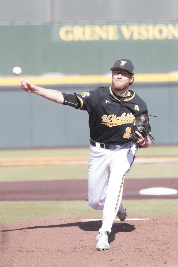 Wichita State sophomore Preston Snavely pitches against SIUE Mar. 6.