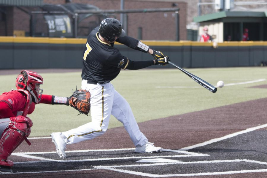 Wichita State red-shirt sophomore Noah Croft hits against SIUE. Shockers won the game 6-1 Tuesday afternoon at Eck Stadium.