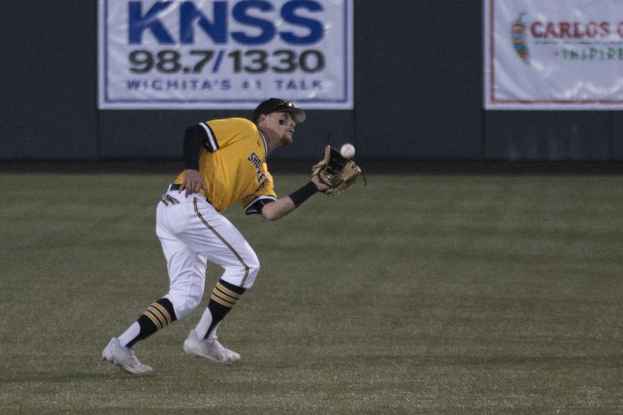 Wichita State's Jordan Boyer fields the ball during the game against Oklahoma.
