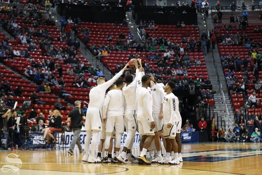 The Wichita State Shockers huddle before the First Round game of the NCAA men's college basketball tournament in San Diego.