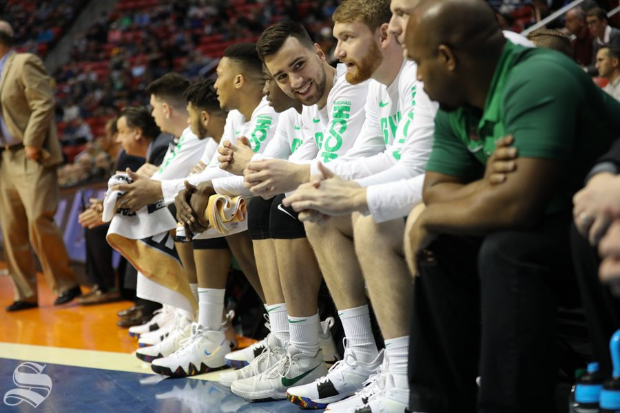 Marshall Thundering Herd bench interacts during the First Round game of the NCAA men's college basketball tournament in San Diego.