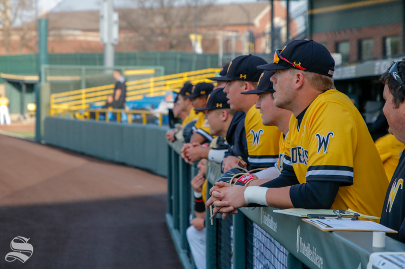 Wichita+State+waits+in+the+dugout+before+their+game+against+Oklahoma+State+University+on+April+4%2C+2018+at+Eck+Stadium.