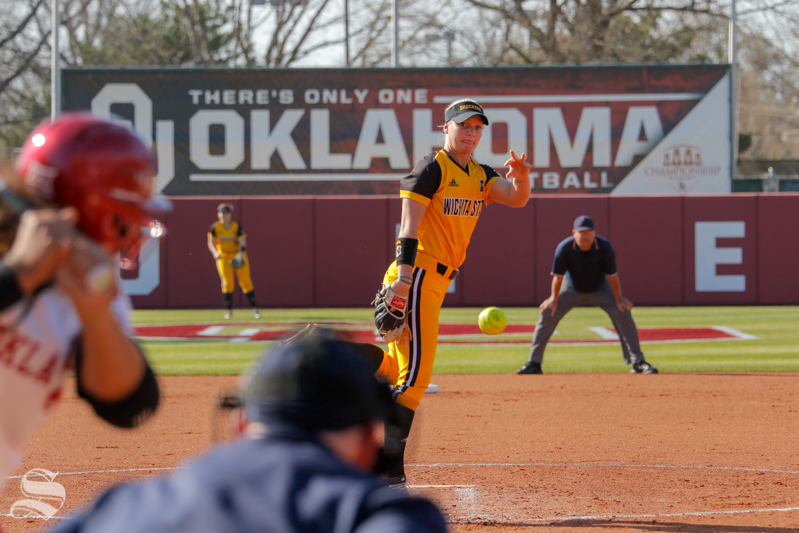 Wichita State's Bailey Lange pitches during their game against OU at Marita Hynes Field on April 11, 2018.