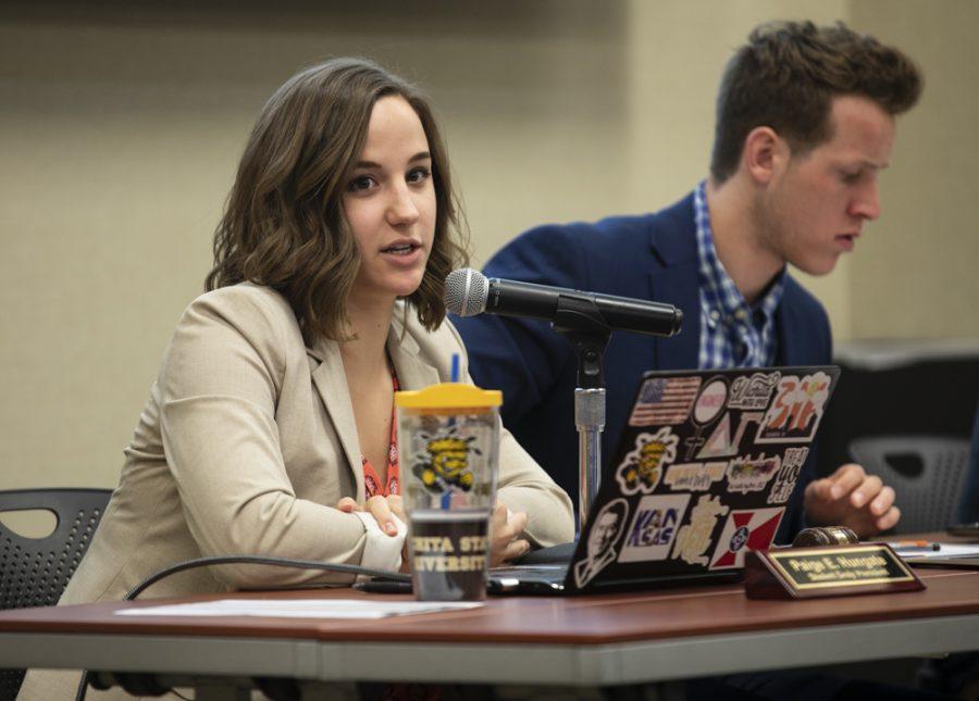 SGA president Paige during the senate meeting on April 11, 2018.