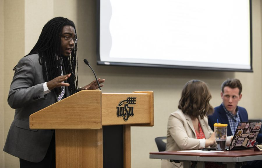SGA President-Elect Kenon Brinkley speaks in opposition to a bill that would eliminate the ticket system during the senate meeting on April 11, 2018.
