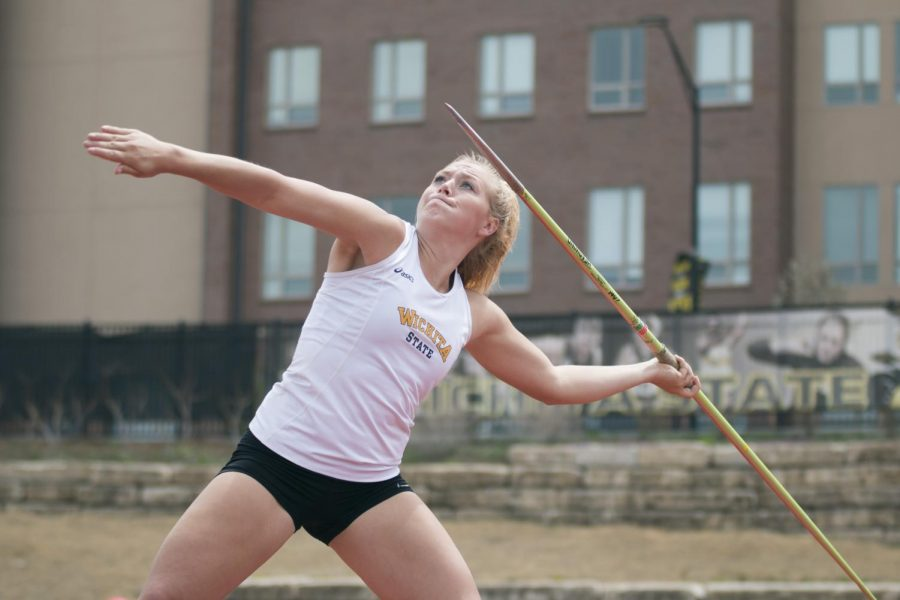 Wichita+State%27s+Kendra+Henry+throws+in+the+javelin+event+on+the+second+day+of+the+K.T.+Woodman+Classic.+