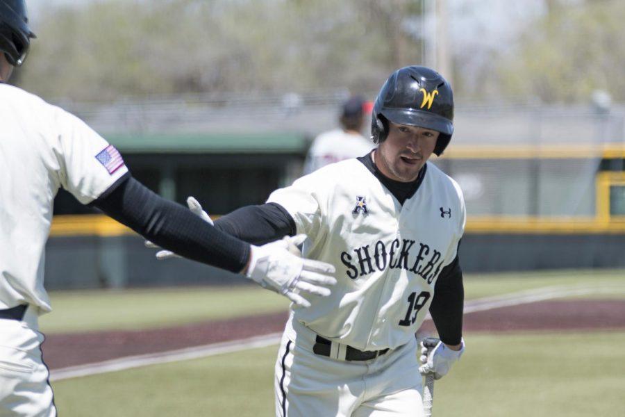 Wichita State's Luke Ritter celebrates after scoring against UConn Sunday afternoon.