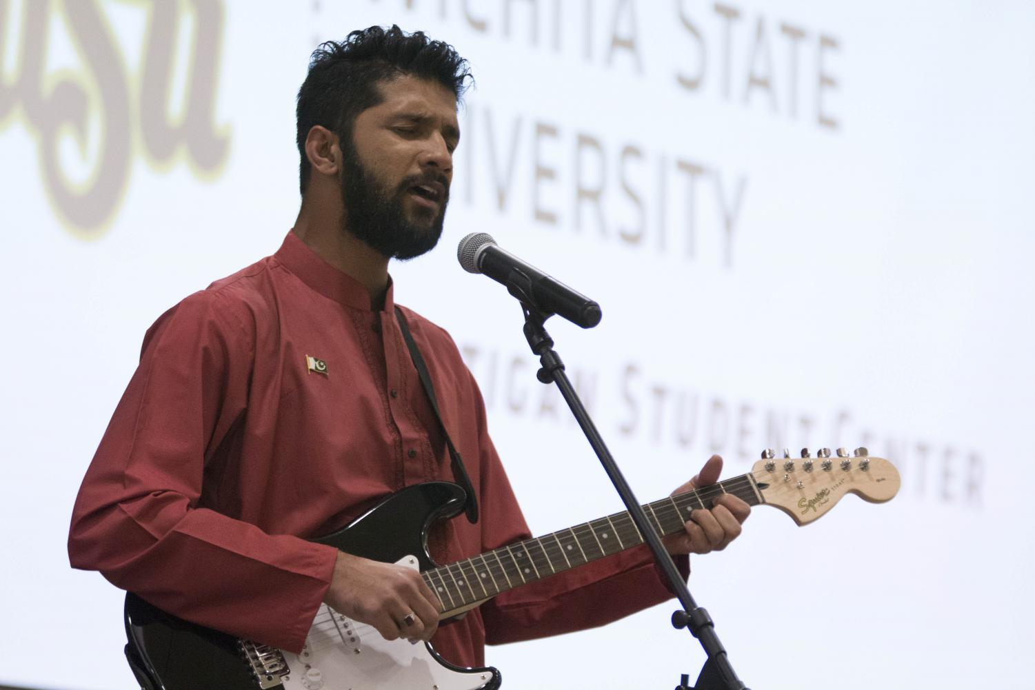 Sajjad Naqvi plays guitar and sings during Pakistan Night held in the Beggs Ballroom of the RSC Sunday evening.