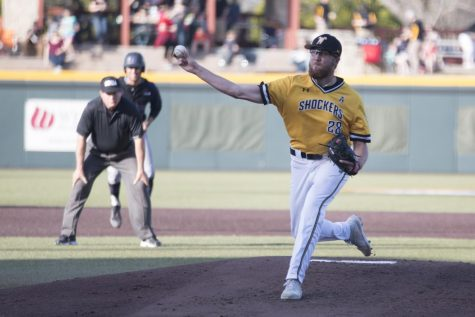 Wichita State sophomore Preston Snavely pitches against Central Arkansas Tuesday evening at Eck Stadium.