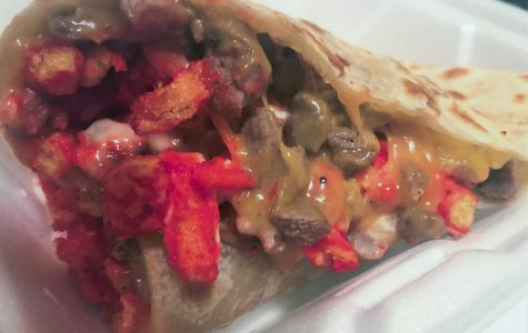 The Hot Cheetos Quesadilla at Alejandro's is a stupendously large offering of steak filled tortilla accented with Monterey Jack cheese sauce, Pico de Gallo and cilantro. It's menu price is $6.50.