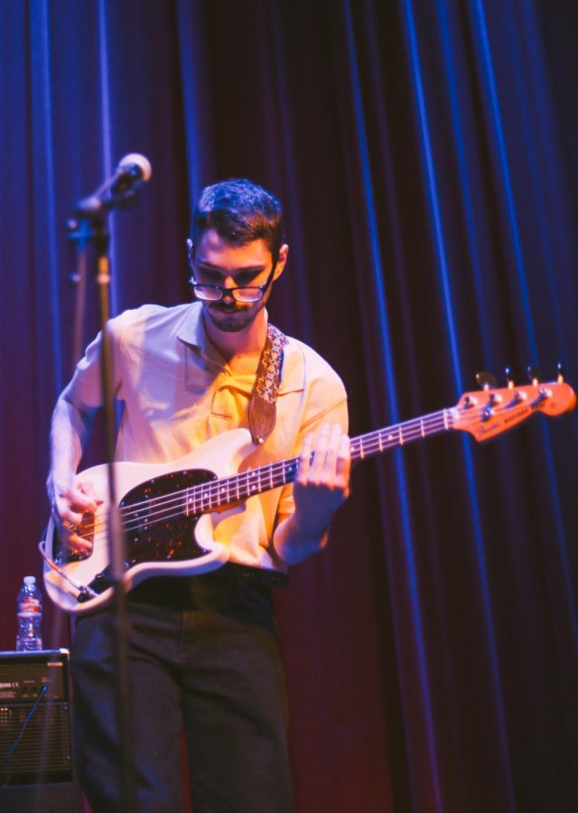 Troy Toon, bass player of The Cavves, plays at the all ages show at Crown Uptown. (April 2018)