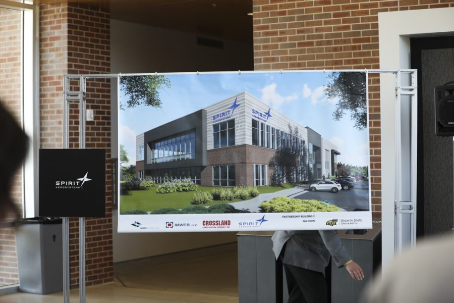 A rendering is displayed of where Spirit AeroSystems is going to inhabit on campus. The building will house other tenants.