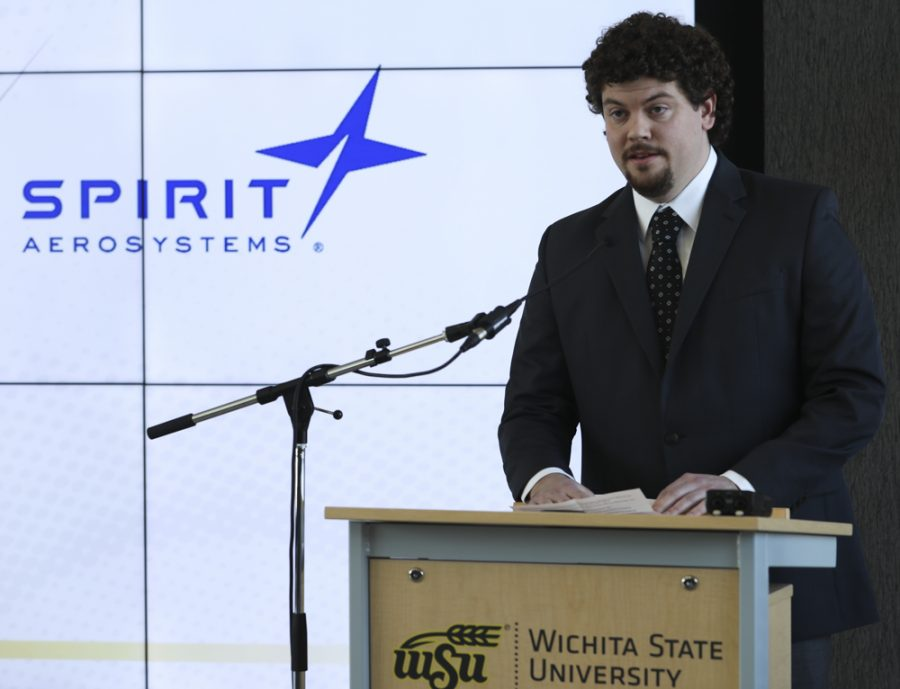 Trevor Steinbrock speaks about the importance of experiential learning during an event announcing a partnership building with Spirit AeroSystems and Wichita State University.