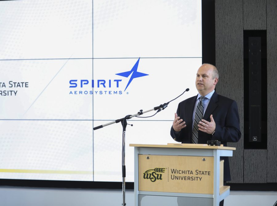 John Tomblin, vice president for research and technology transfer speaks during an event announcing a partnership building with Spirit AeroSystems  and Wichita State University.