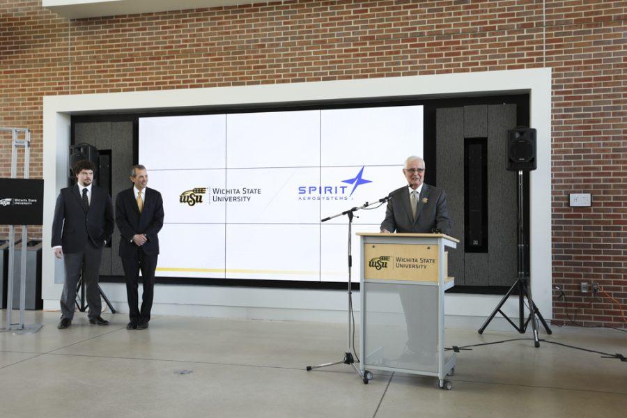 Wichita State President John Bardo announces a partnership building with Spirit AeroSystems and Wichita State University.