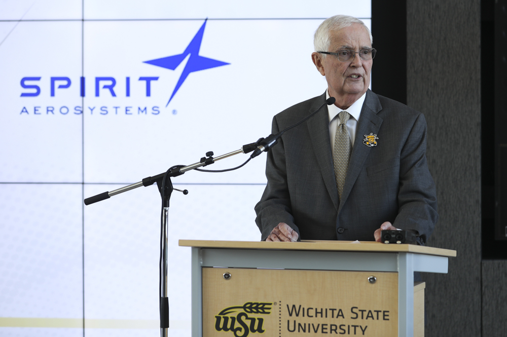 Wichita State President John Bardo announces a partnership between Spirit AeroSystems and Wichita State.
