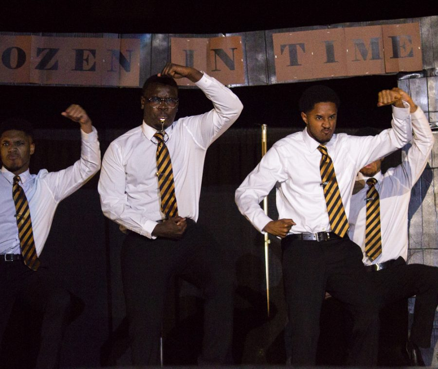 The men of Alpha Phi Alpha Delta Mu chapter perform in the 9th annual Multicultural Greek Council Shock the Yard Step Show.