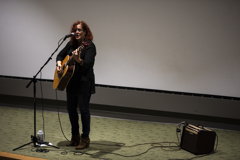Lalanea Chastain performs in Hubbard Hall during the EMPOWER! event to benefit the Wichita Area Sexual Assault Center.