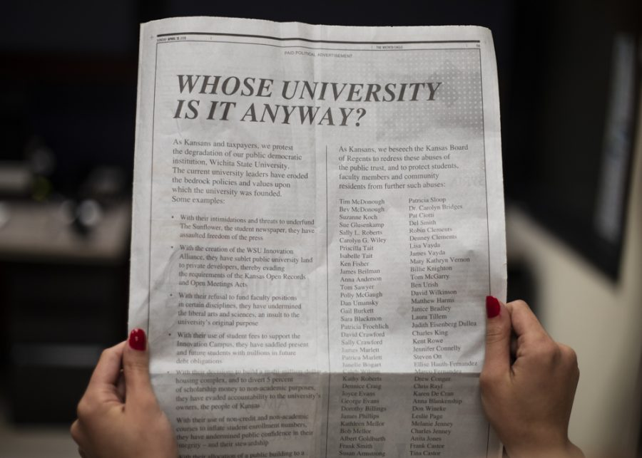 Thefull pageadthatraninthe Friends of the Universityu0027 protest Wichita