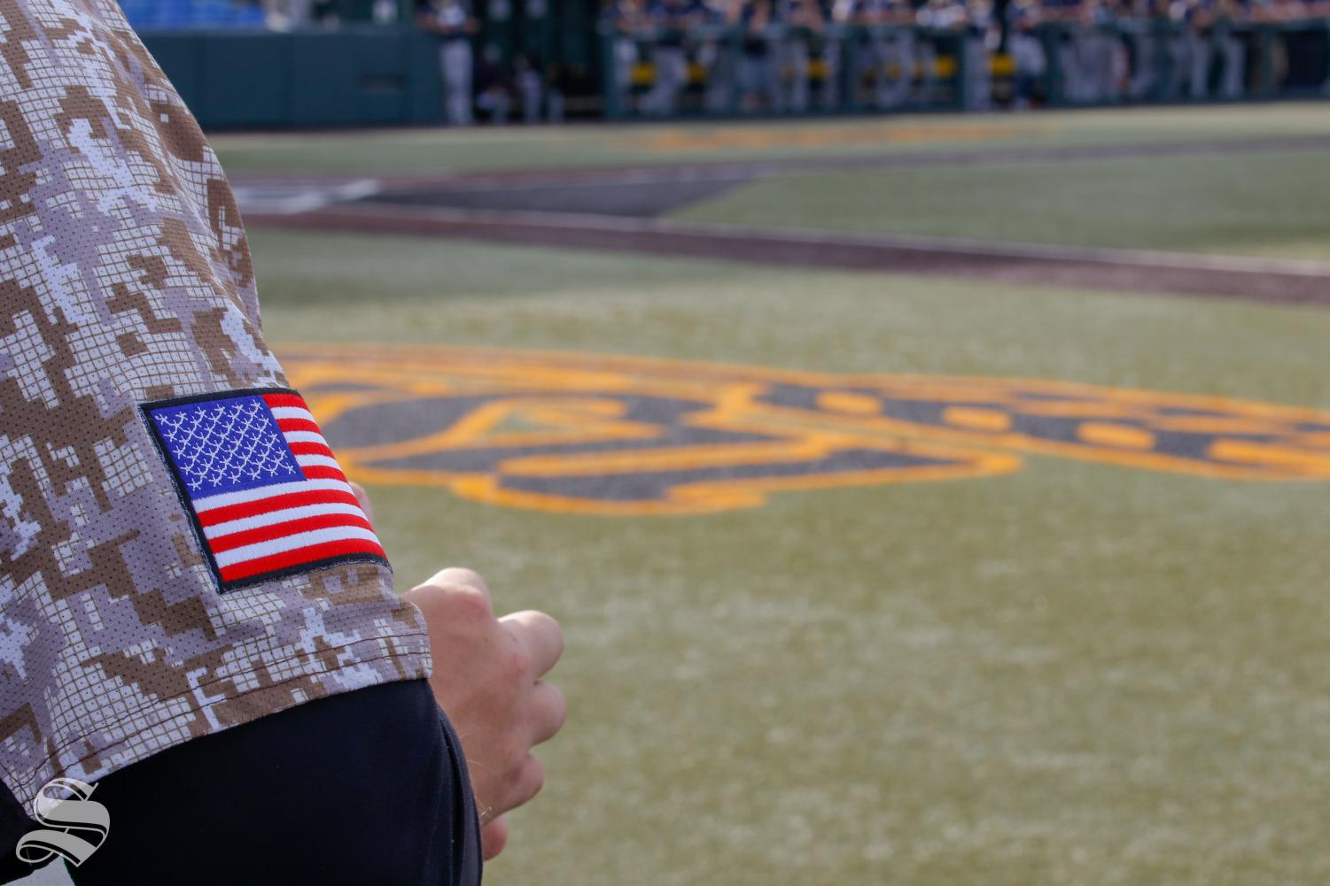 Wichita State displays the American Flag on their sleeves as part of their military appreciation uniform.