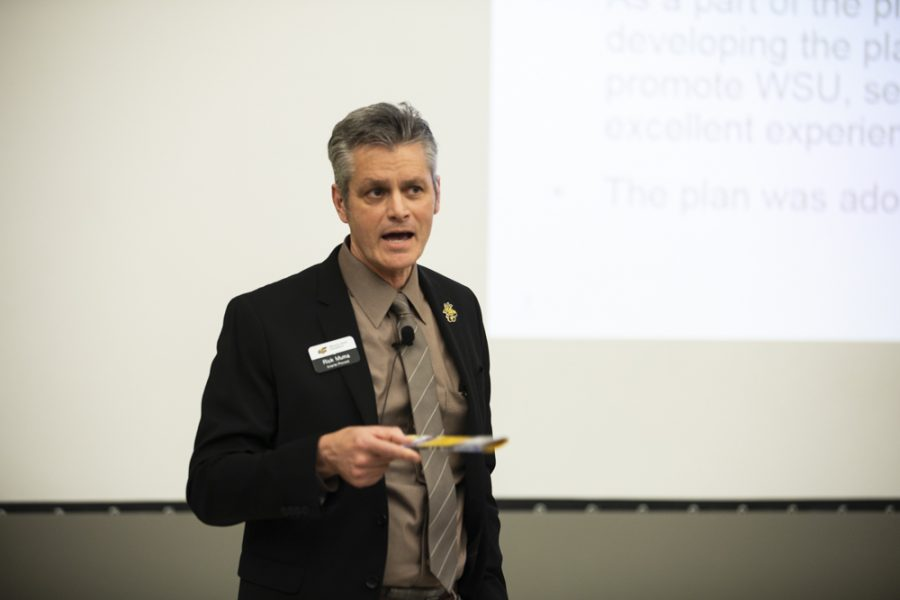 Interm Provost Rick Muma talks about the goals for enrollment during an Unclassified Professional Senate meeting in Hubbard Hall.