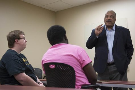 Carl Brewer, former mayor of Wichita, speaks to Wichita State students Thursday, April 26, 2018.