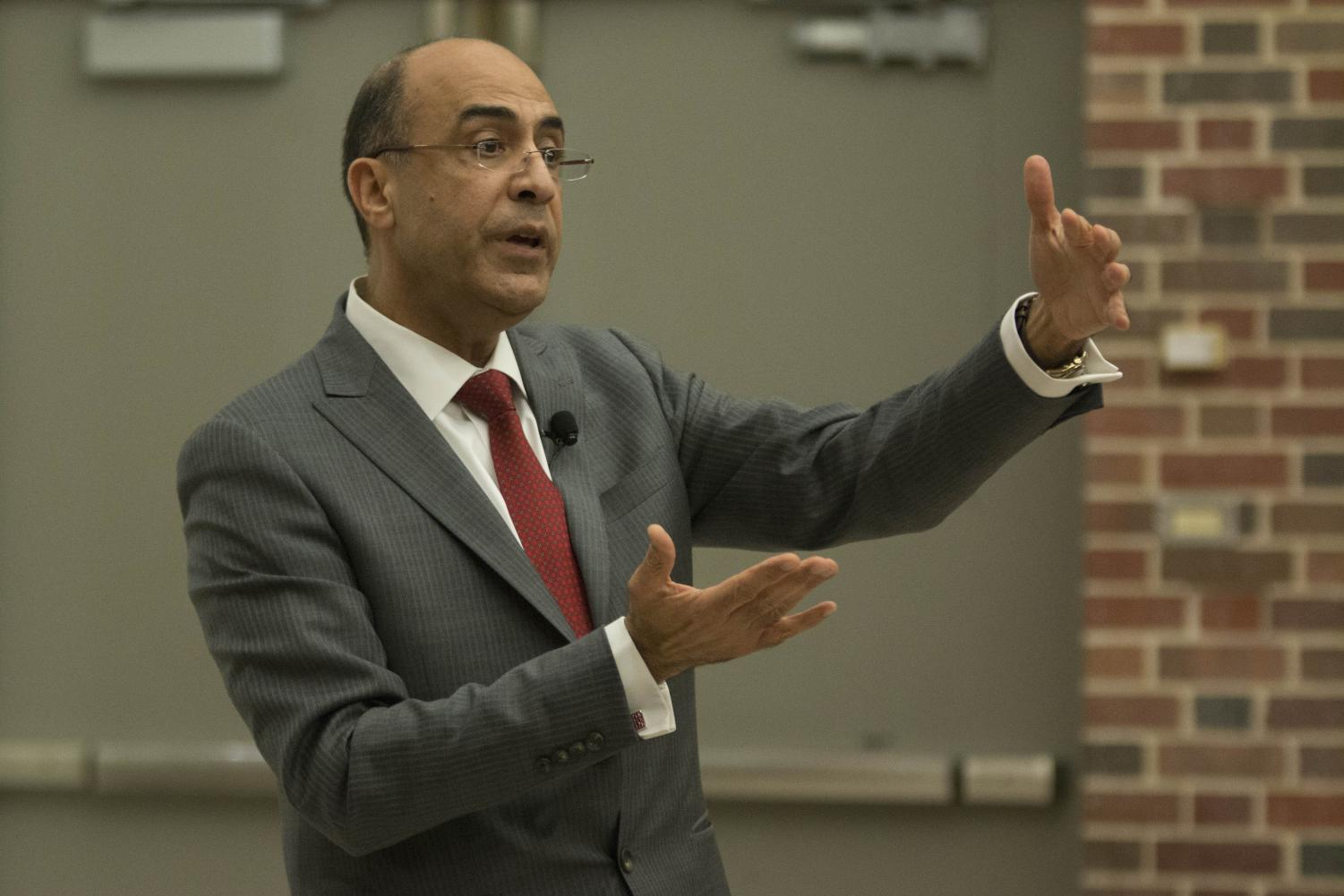 Provost and Chief Academic Officer candidate Dr. Hesham El-Rewini answers questions during public forum held in Hubbard Hall Wednesday afternoon.