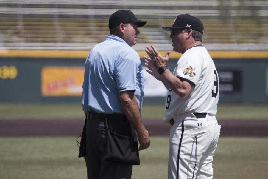Wichita+State+Head+Coach+Todd+Butler+argues+over+a+call+made+by+the+umpire+during+the+third+game+of+the+series+against+Cincinnati+Sunday+afternoon.