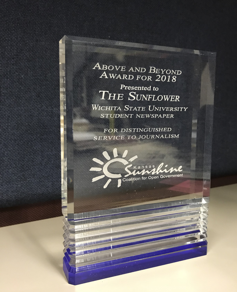 The Above and Beyond Award for 2018 given by the Sunshine Coalition for Open Goverment to The Sunflower for its investigative work over the past year.