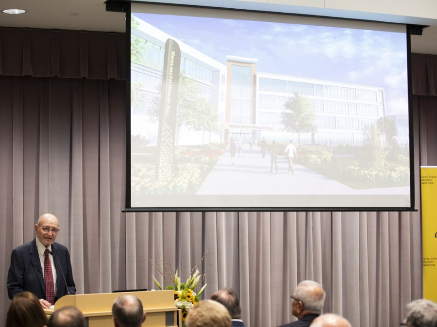 Wayne Woolsey speaks to those in attendance for the announcement of the single largest cash gift to the university. the gift will be used to build a new Wayne and Kay Woolsey Hall, which will house the Barton School of Business.