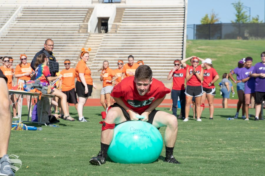 John Ramey competes for his college at the Clash of the Colleges on Friday, Aug. 24, 2018 at Cessna Stadium.