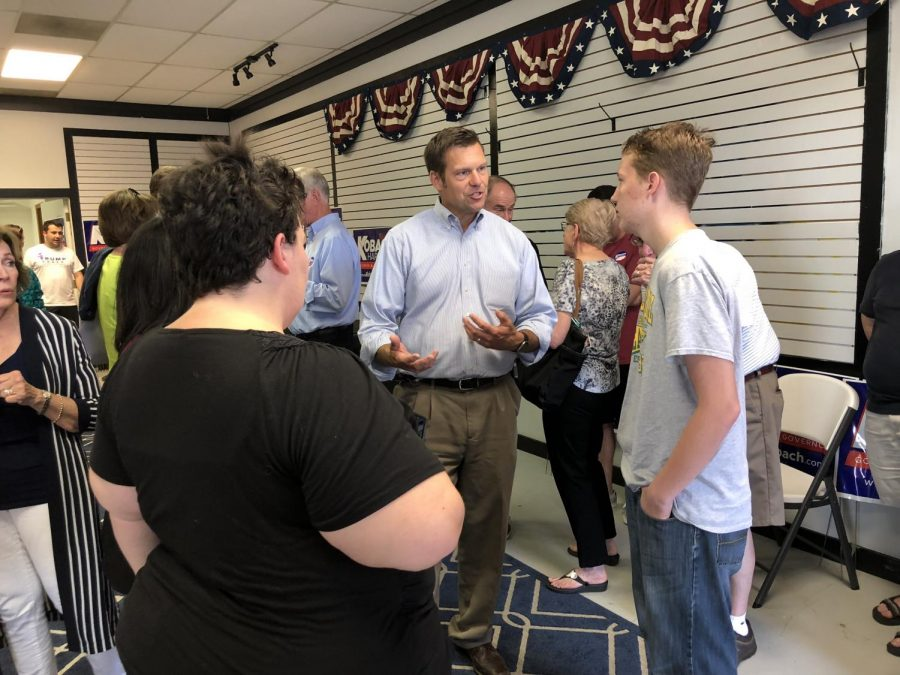 Secretary of State Kris Kobach speaks to supporters at his Wichita campaign headquarters. (August 5, 2018 file photo)