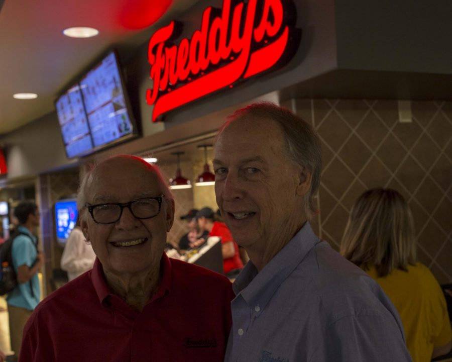 Freddy Simon and his son, Randy, at the soft-opening of Freddy's Frozen Custard & Steakburgers at Wichita State. The location is in the Rhatigan Student Center.