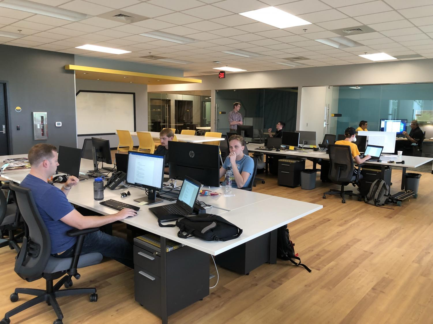 Student analysts conduct research for the U.S. Army's Aviation and Missile Research, Development and Engineering Center (AMRDEC) Wednesday, Aug. 29 at the FirePoint Innovations Center on Innovation Campus.