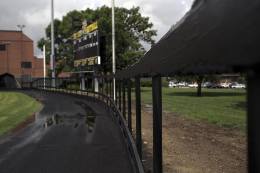 Wilkins+Stadium+awaits+new+safety+pads+before+the+new+fence+can+be+completed.
