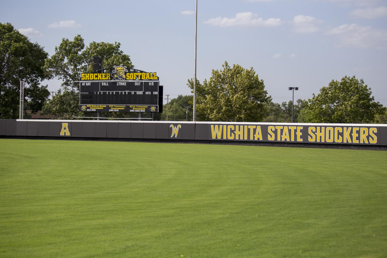August 29, 2018: New fences are installed at Wilkins Stadium. The new fence features safety padding that is said to lessen the potential for injury should a player collide with the fence.