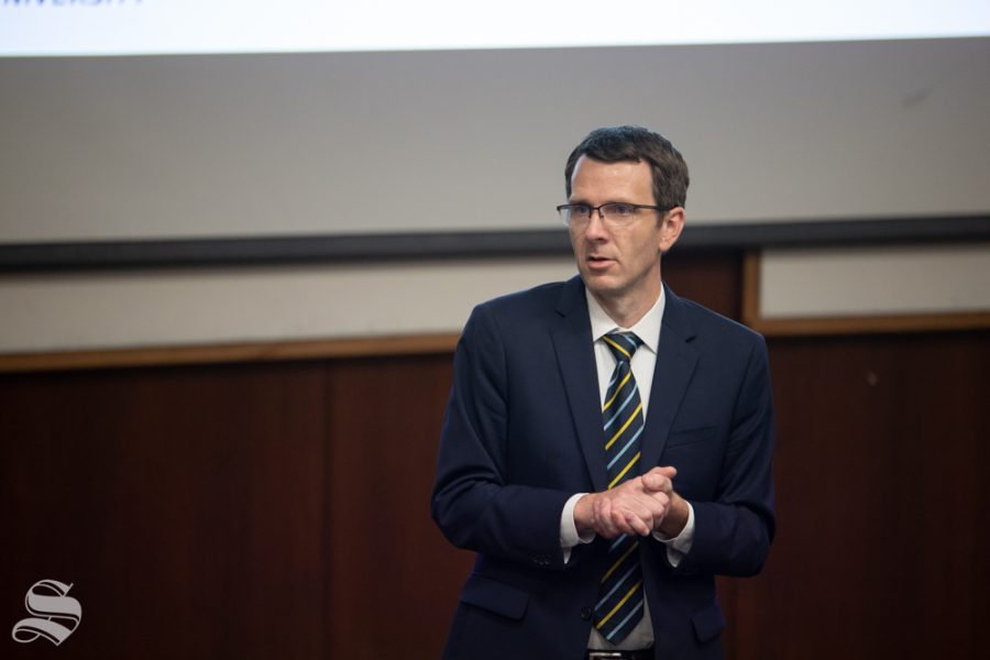 Dennis Livesay speaks to faculty and staff at an open forum in September. Livesay is currently the dean of the Graduate School, associate vice president for Research and Technology and a professor at Wichita State University.