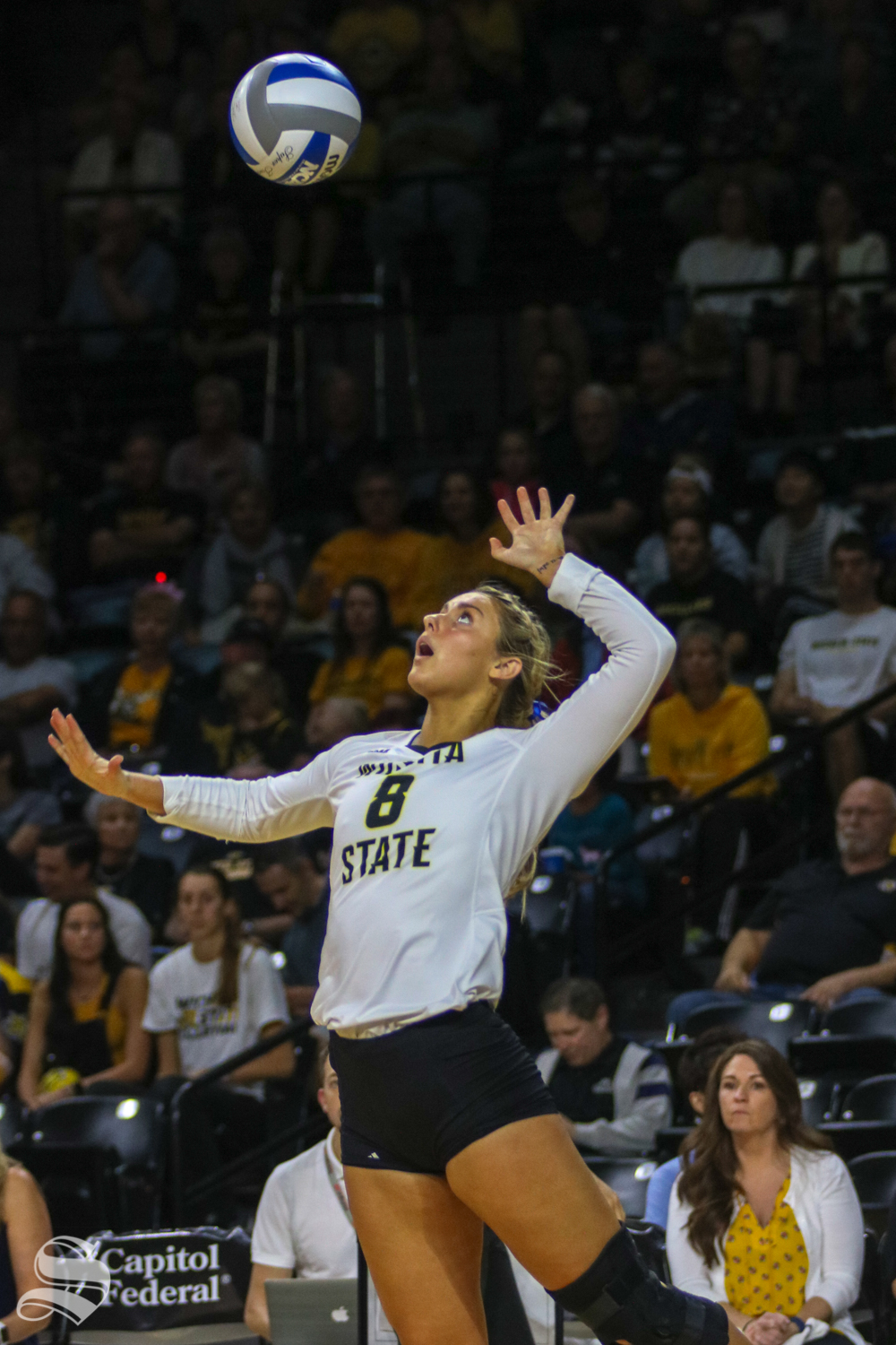 Wichita+State%27s+Kali+Eaken+serves+the+ball+to+Tulane+during+their+game+on+Friday+evening+at+Koch+Arena.+%28Sept.+21%2C+2018%29