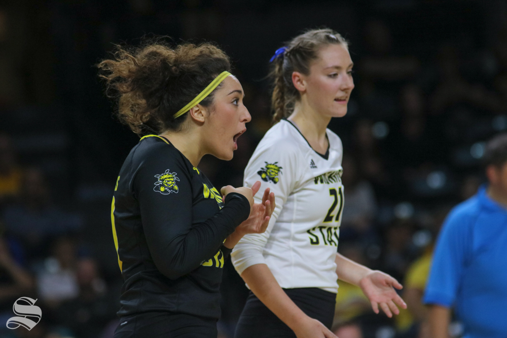 Wichita+State%27s+Giorgia+Civita+yells+after+winning+a+point+during+their+game+against+Tulane+on+Friday+evening+at+Koch+Arena.+%28Sept.+21%2C+2018%29