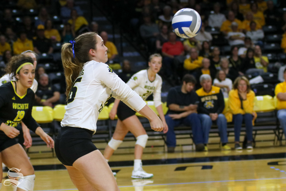 Wichita+State%27s+Kara+Brown+digs+the+ball+during+their+game+against+Tulane+on+Friday+evening+at+Koch+Arena.+%28Sept.+21%2C+2018%29