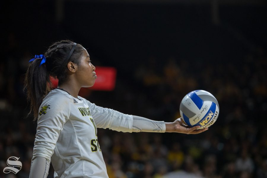Wichita+State%27s+Tabitha+Brown+stares+at+the+ball+before+serving+during+their+game+against+Tulane+on+Friday+evening+at+Koch+Arena.+%28Sept.+21%2C+2018%29