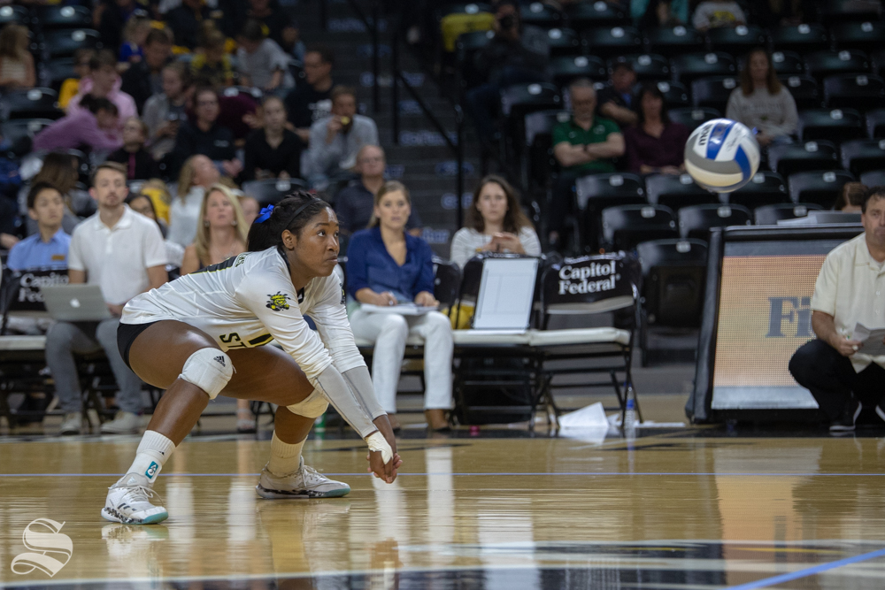 Wichita+State%27s+Tabitha+Brown+reaches+for+a+ball+during+their+game+against+Tulane+on+Friday+evening+at+Koch+Arena.+%28Sept.+21%2C+2018%29