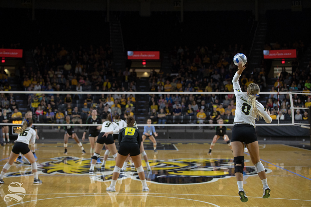 Wichita+State%27s+Kali+Eaken+serves+to+tulane+during+their+game+on+Friday+evening+at+Koch+Arena.+%28Sept.+21%2C+2018%29