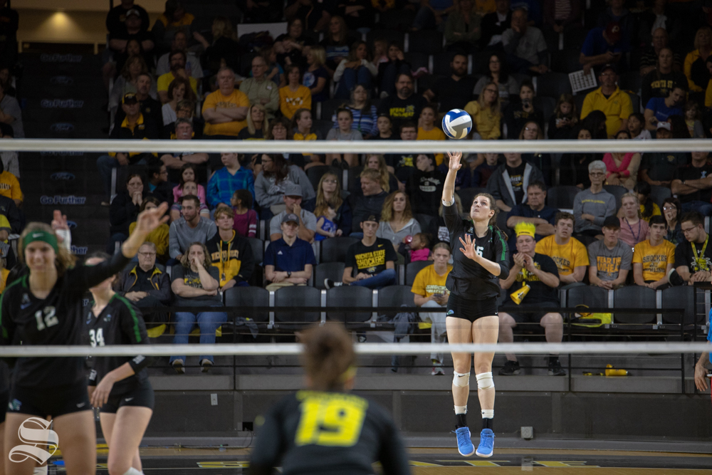 Tulane%27s+Hannah+Shaw+serves+to+Wichita+State%27s+during+their+game+on+Friday+evening+at+Koch+Arena.+%28Sept.+21%2C+2018%29