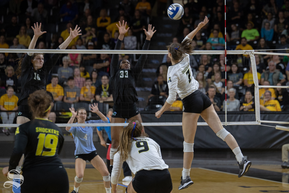 Wichita+State%27s+Grace+Burken+spikes+towards+Tulanes+blockers+during+their+game+on+Friday+evening+at+Koch+Arena.+%28Sept.+21%2C+2018%29
