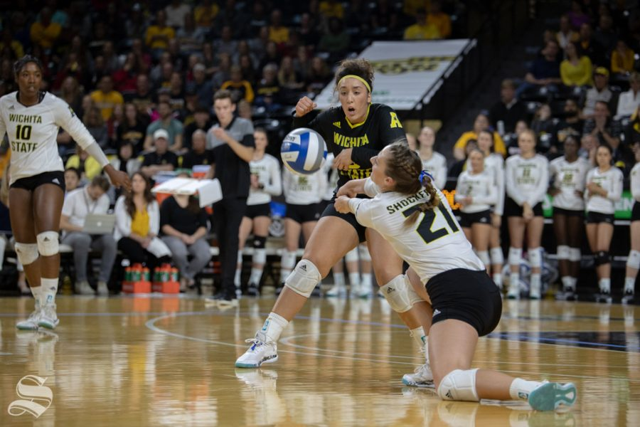 Wichita+State%27s+Megan+Taflinger+reaches+for+a+ball+during+their+game+against+Tulane+on+Friday+evening+at+Koch+Arena.+%28Sept.+21%2C+2018%29