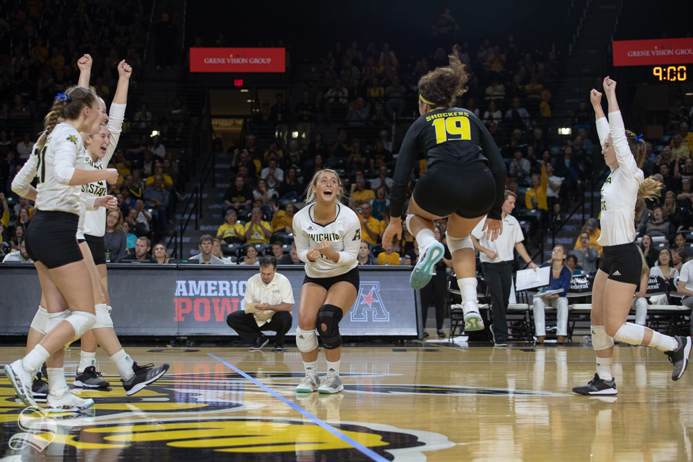 Wichita+State+celebrates+after+winning+a+point+during+their+game+against+Tulane+on+Friday+evening+at+Koch+Arena.+%28Sept.+21%2C+2018%29