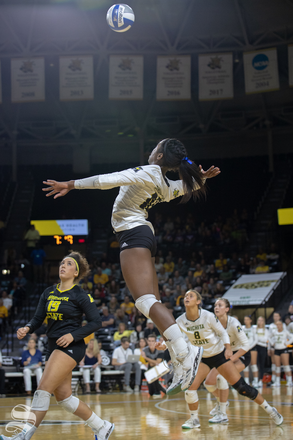 Wichita+State%27s+Tabitha+Brown+goes+up+for+a+spike+during+their+game+against+Tulane+on+Friday+evening+at+Koch+Arena.+%28Sept.+21%2C+2018%29