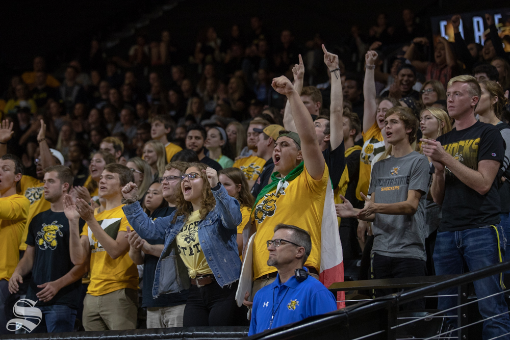 Fans+cheer+on+the+Shockers+after+winning+a+point+on+Friday+evening+at+Koch+Arena.+%28Sept.+21%2C+2018%29